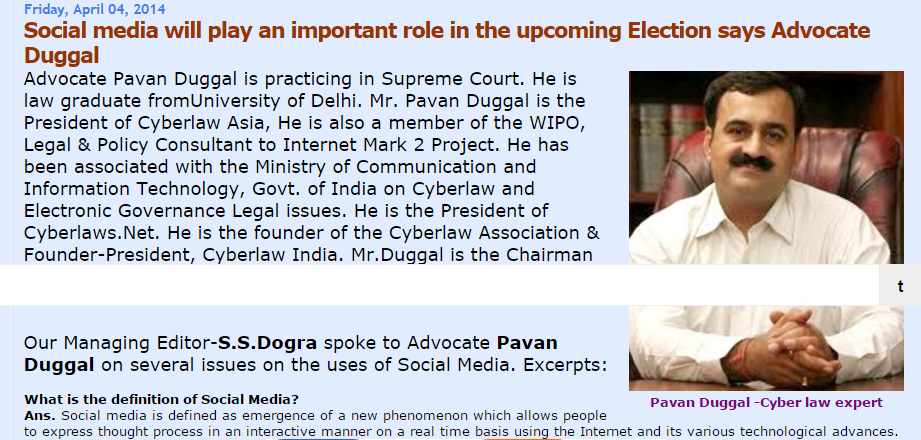 Social media will play an important role in the upcoming Election says Advocate Duggal