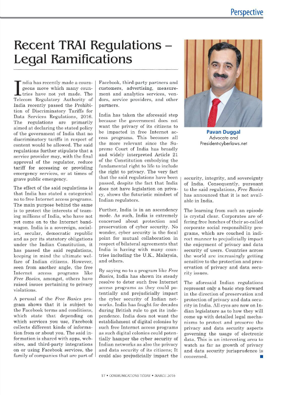 TRAI Regulations- Legal Ramification- Pavan Duggal